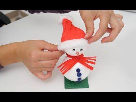 Lavoretto di Natale  come realizzare un pupazzo di neve - YouTube 4bda85c17b17