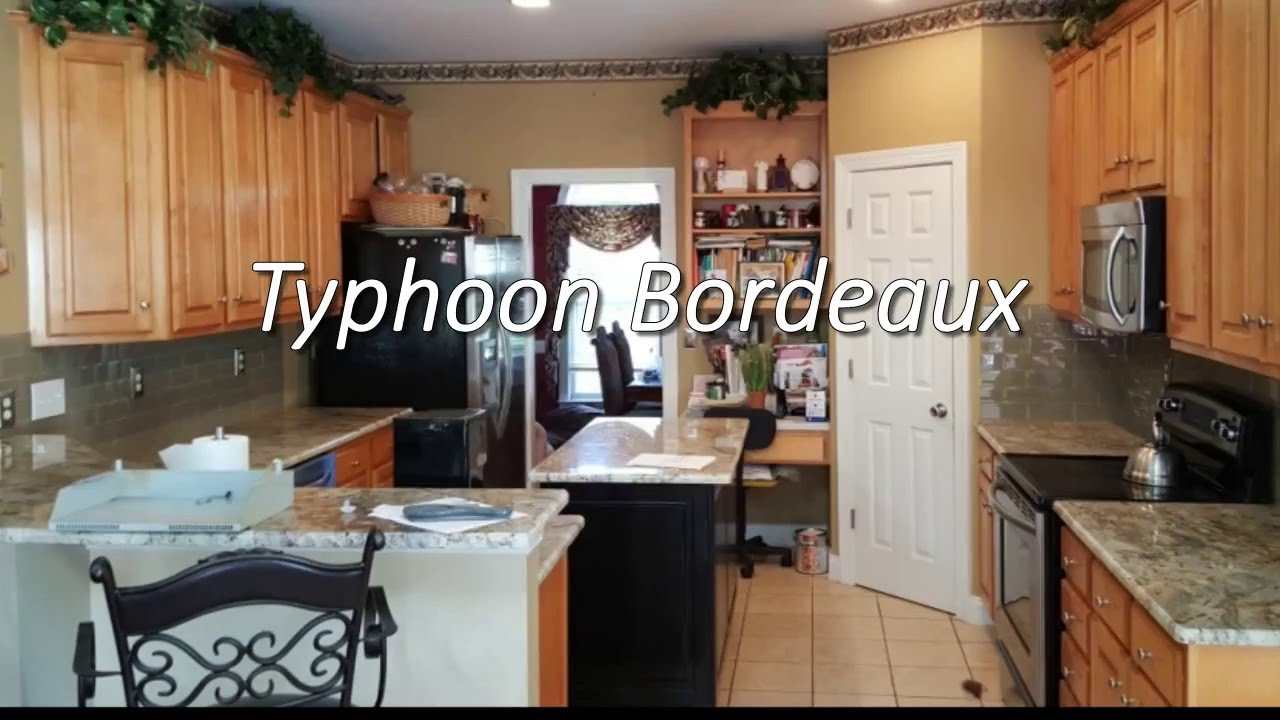 Typhoon Bordeaux Granite Kitchen Typhoon Bordeaux Granite With 3 X 8 Almond Glass Backsplash Youtube