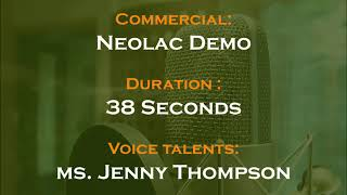 Jenny Thompson voice actor - Neolac commercial