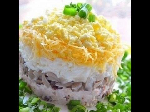 слоеный салат с грибами и огурцами