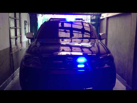 Toyota Fortuner with Police Strobo 4 pcs, LED Bar Blue & Sirine Senken 100 watt