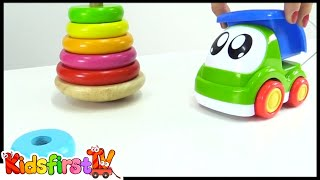 Hamleys Toy Pyramid Assembly Demo For Children With Kid Truck! Learn Rainbow Colors!