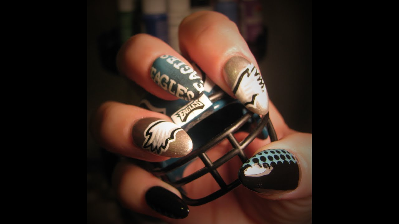 Philadelphia Eagles nail tutorial - YouTube