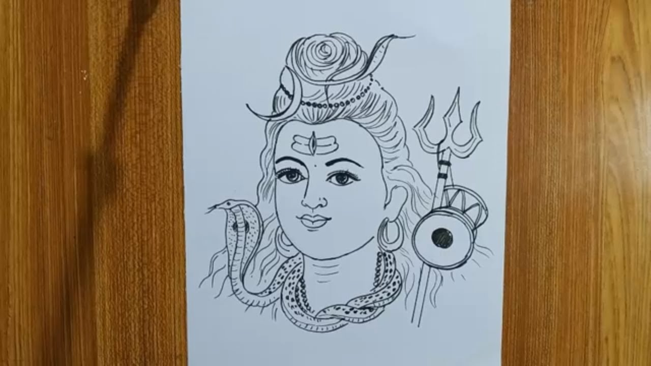 How To Draw Lord Shiva For Charak Puja Special Shiv Thakur Line Drawing How To Draw Om Namh Shivaya Youtube