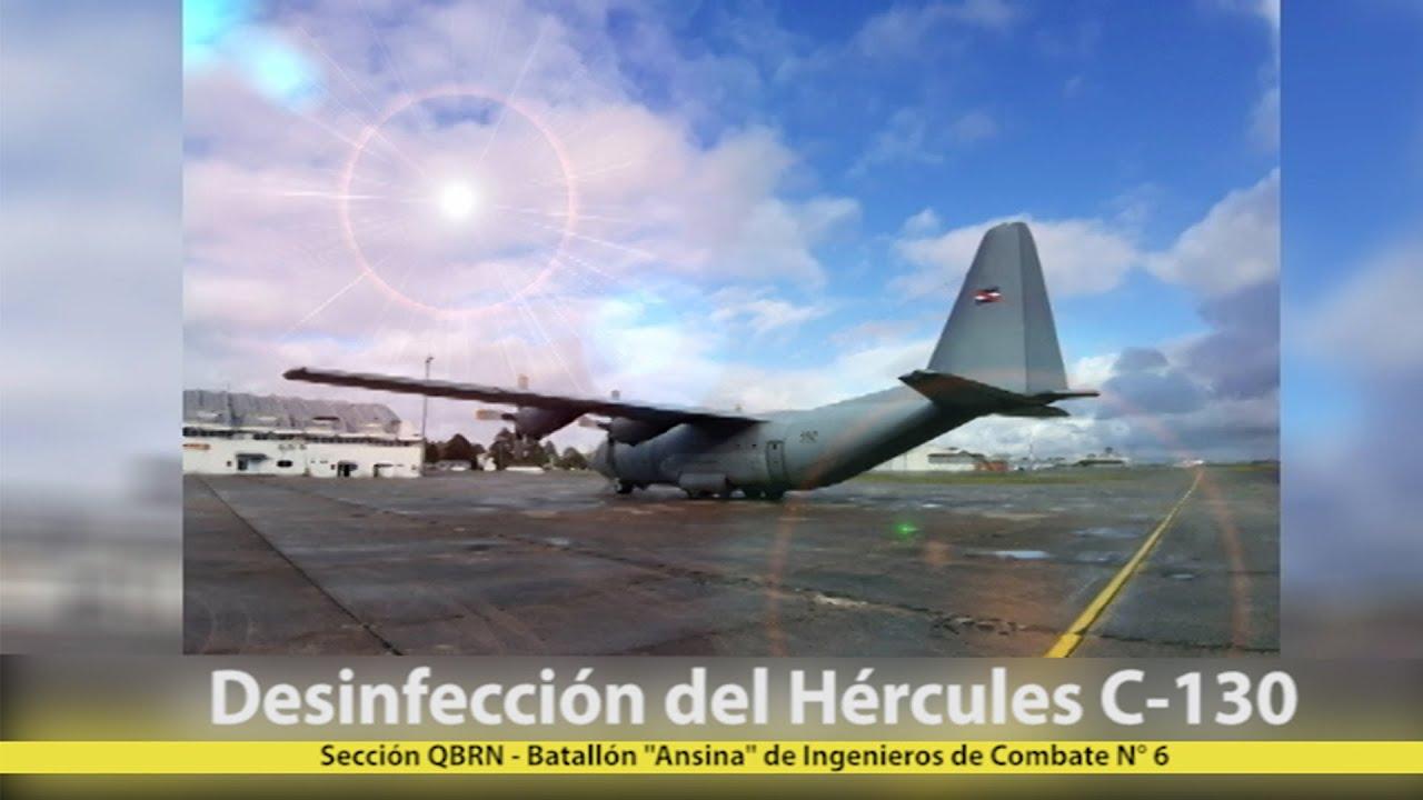 Desinfección del Hércules C-130 - Sección QBRN