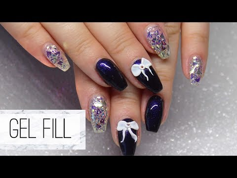 How To Do A Fill On Gel Nails | Plus Glitter Gel & A 3D Bow!
