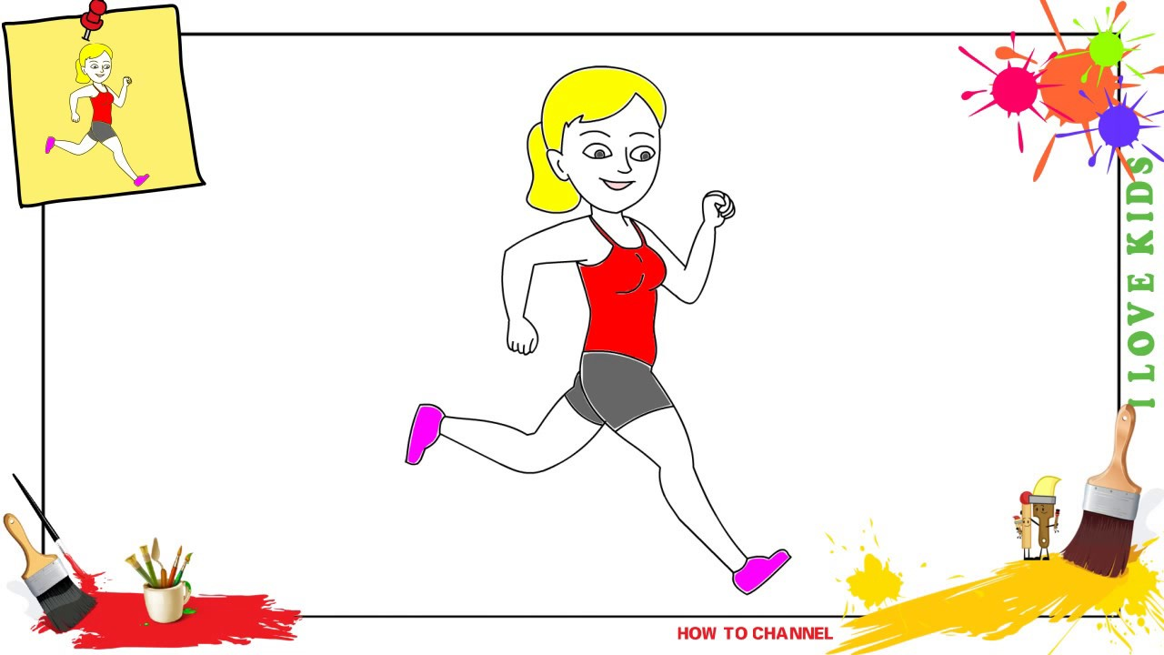 How to draw a girl running EASY & SLOWLY step by step for ...