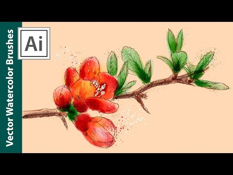 Watercolor Drawing With Vector Brushes - How To Draw A Branch With Flowers In Adobe Illustrator