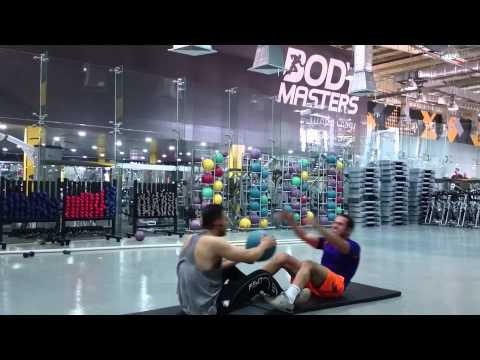 Partner ab workout (medicine ball)تمرين بطن مشاركة