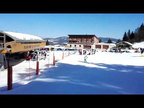 Last ski in 2016 spring in France near Geneva, Switzerland