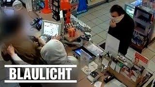 Brutaler Überfall auf Tankstelle - Polizei sucht diese Täter