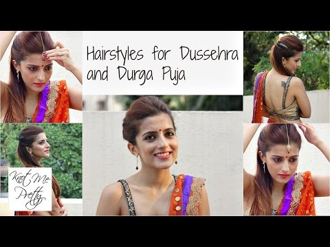 Hairstyles for Dussehra | Durga Puja | Navratri | Indian Hairstyles For Medium Hair