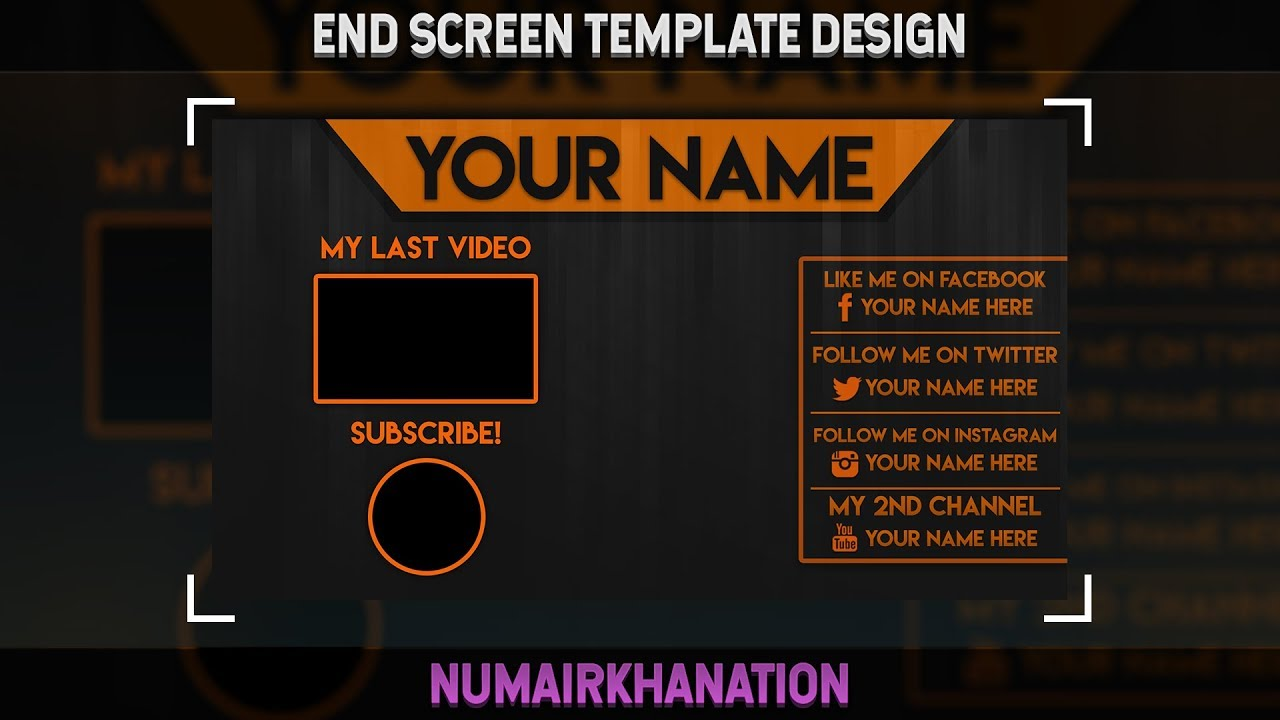 YouTube End Screen Template (Free Download) | Photoshop Speedart #24 ...