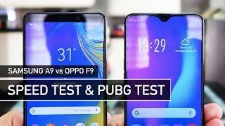 Samsung A9 2018 vs OPPO F9 SPEED Test & PUBG Comparison | Zeibiz