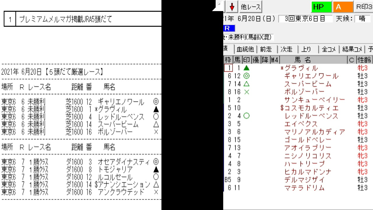 競馬予想メールマガジン配信結果 2021年6月20日 5頭BOX 2戦2勝