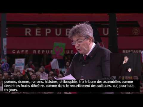 Mélenchon cite Victor Hugo - 18 mars 2017 - Place de la République