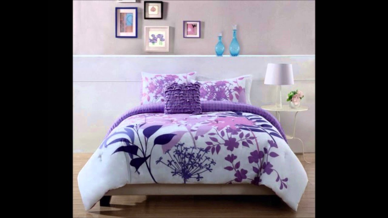 Lavender floral bedding - Lavender Shadow White And Purple Floral Bedding By Style 1212
