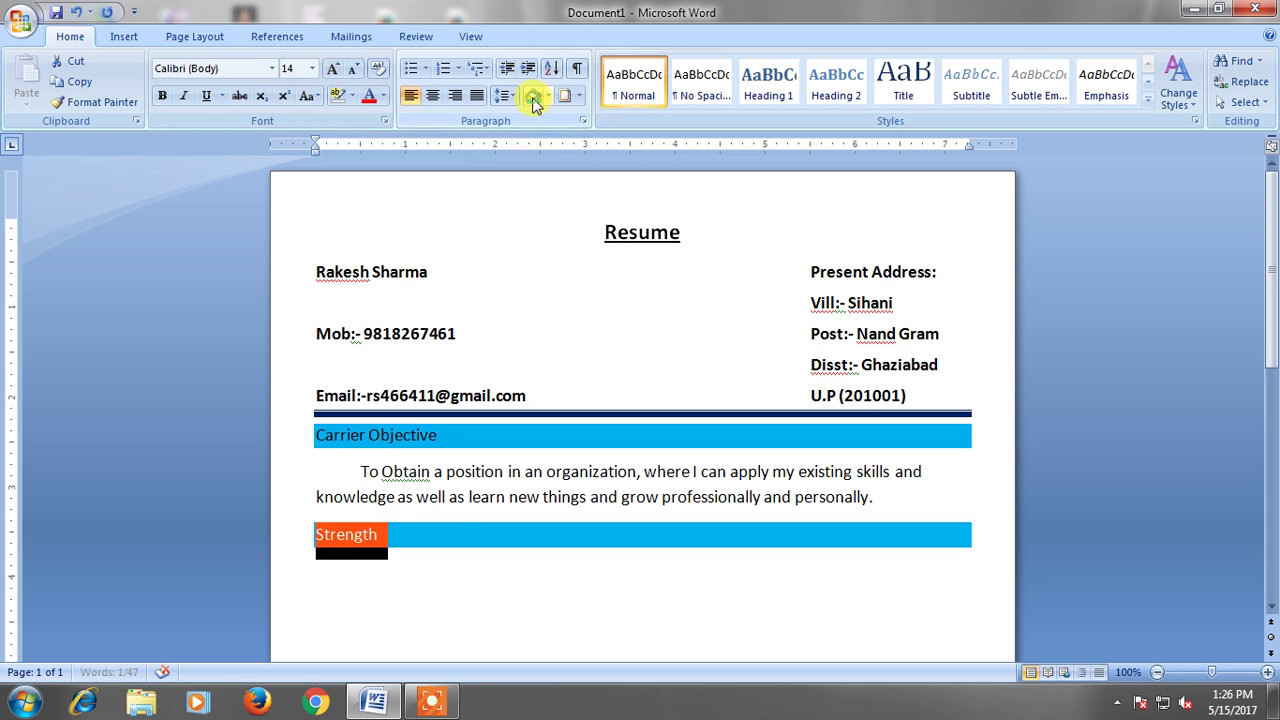 How To Create Resume In Micro Soft Word 2007