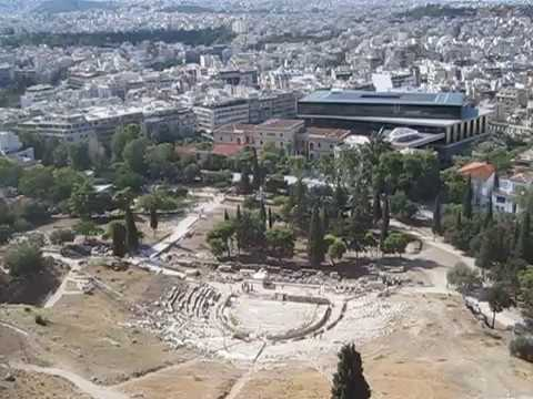 Greece - Athens - Views of the city and the Dionis theatre from the Acropolis