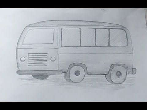How to draw a bus sketch for kids.step by step drawing.