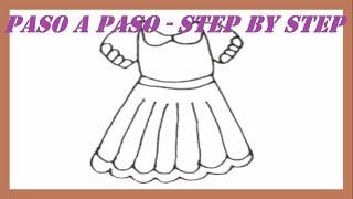 Como dibujar un Vestido paso a paso l How to draw Dress step by step