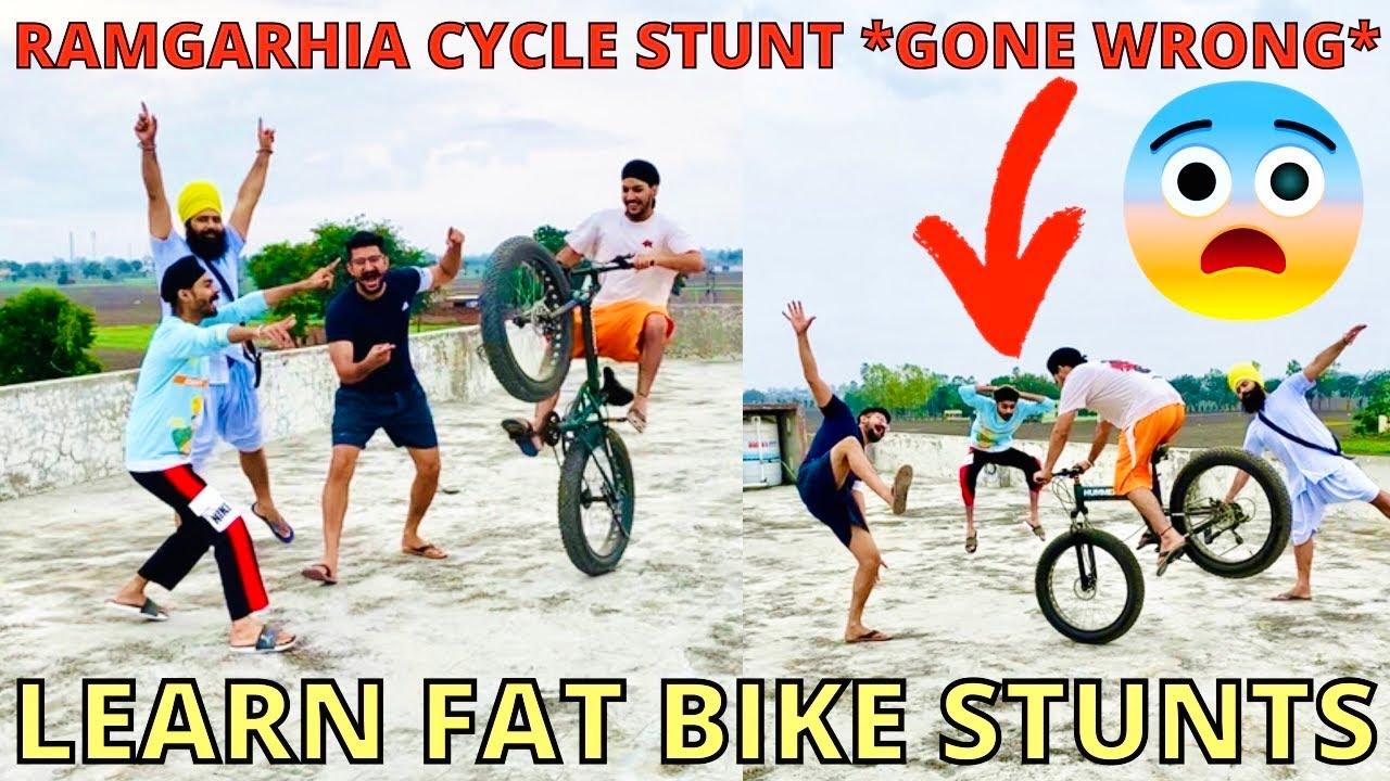 Fat cycle Stunt on RoofTop | BIR RAMGARHIA New Hummer Cycle Stunts