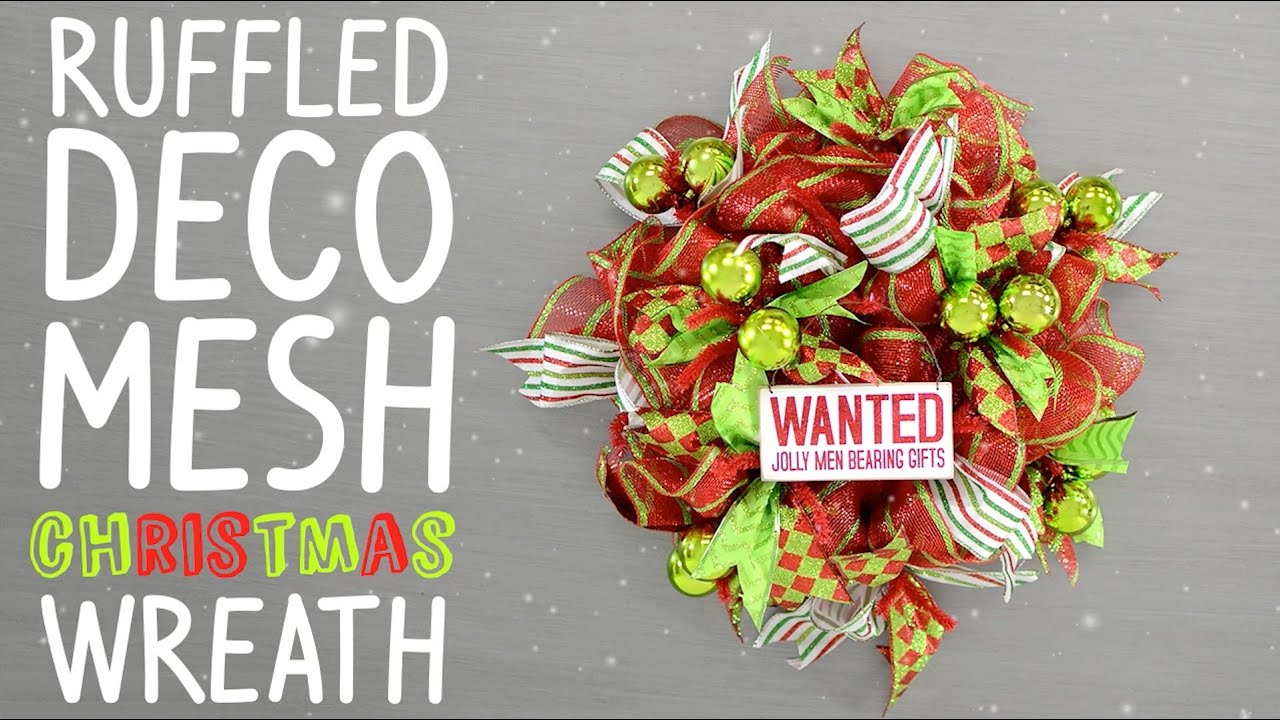 ruffled deco mesh christmas wreath youtube - Deco Mesh Christmas Wreath