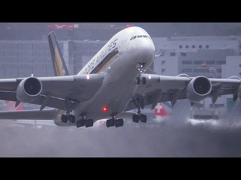 Airbus A380 + Wet Runway = Great Stuff!