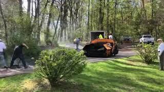 Installing leveling course asphalt driveway