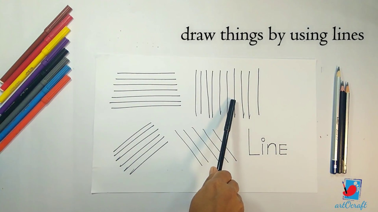 Drawing Using Lines : How to draw things by using lines #2 step drawing for