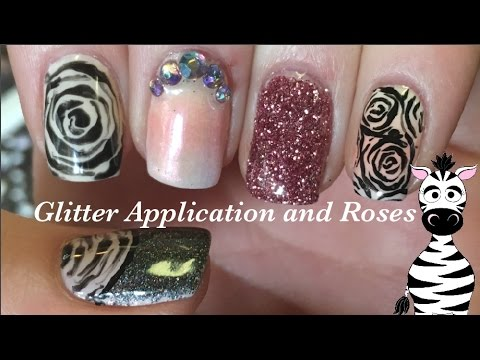 Different Types Of Glitter Application And Roses Gel Nail Art