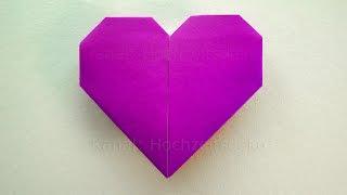 Repeat youtube video Origami Herz falten - Einfaches Herz basteln mit Papier - Geschenk selber machen