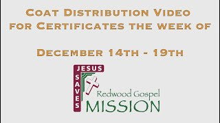 Coat Distribution Video for Certificates the week of December 14th -19th