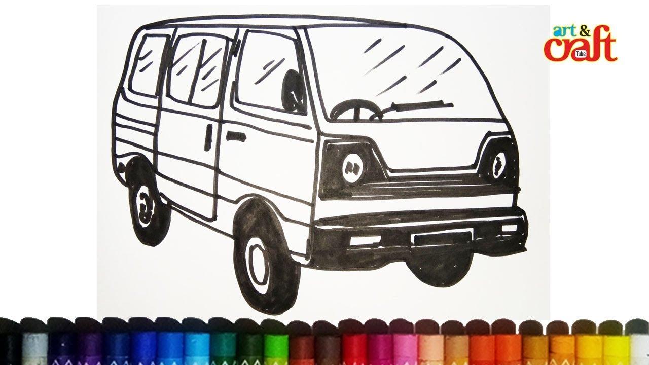 How To Draw School Van Kids Easy Drawing Youtube