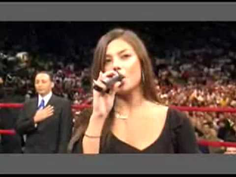 Melissa Jimenez sings the National Anthem at MSG in NYC..(with early Laryngitis) WOW!