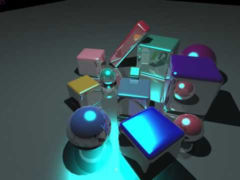 """my real-time opencl ray tracer, scene """"cubes"""""""