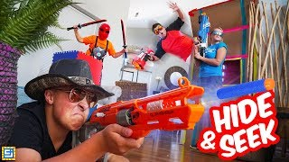 Gambar cover Epic Family Nerf Ninja Battle Royale in Mansion House!