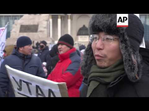 Protest in Ulaanbaatar against pollution levels