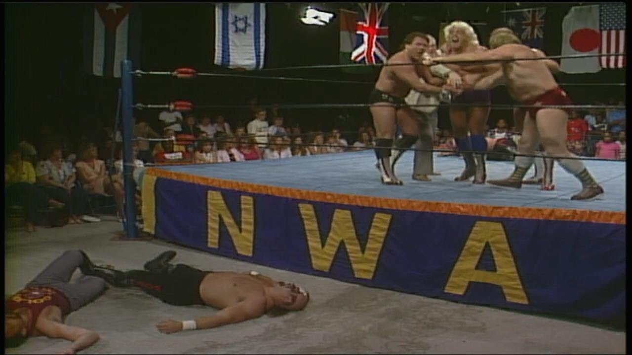 NWA Ric Flair and The Four Horsemen DESTROY The Road Warriors 06/21/1986