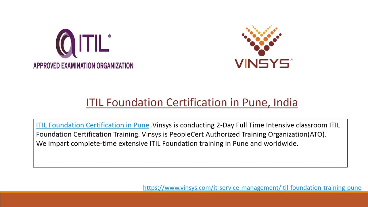 Itil Certification Training In Pune Itil Exam In Pune Vinsys Youtube