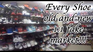 Unauthorized Wholesale fake shoe market. Jordans, foamposites, yeezys, nike, adidas Guangzhou China