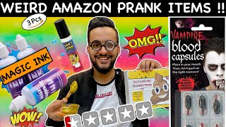Trying WEIRD *AMAZON PRANK* ITEMS SOLD ONLINE !! *FAKE POOP*