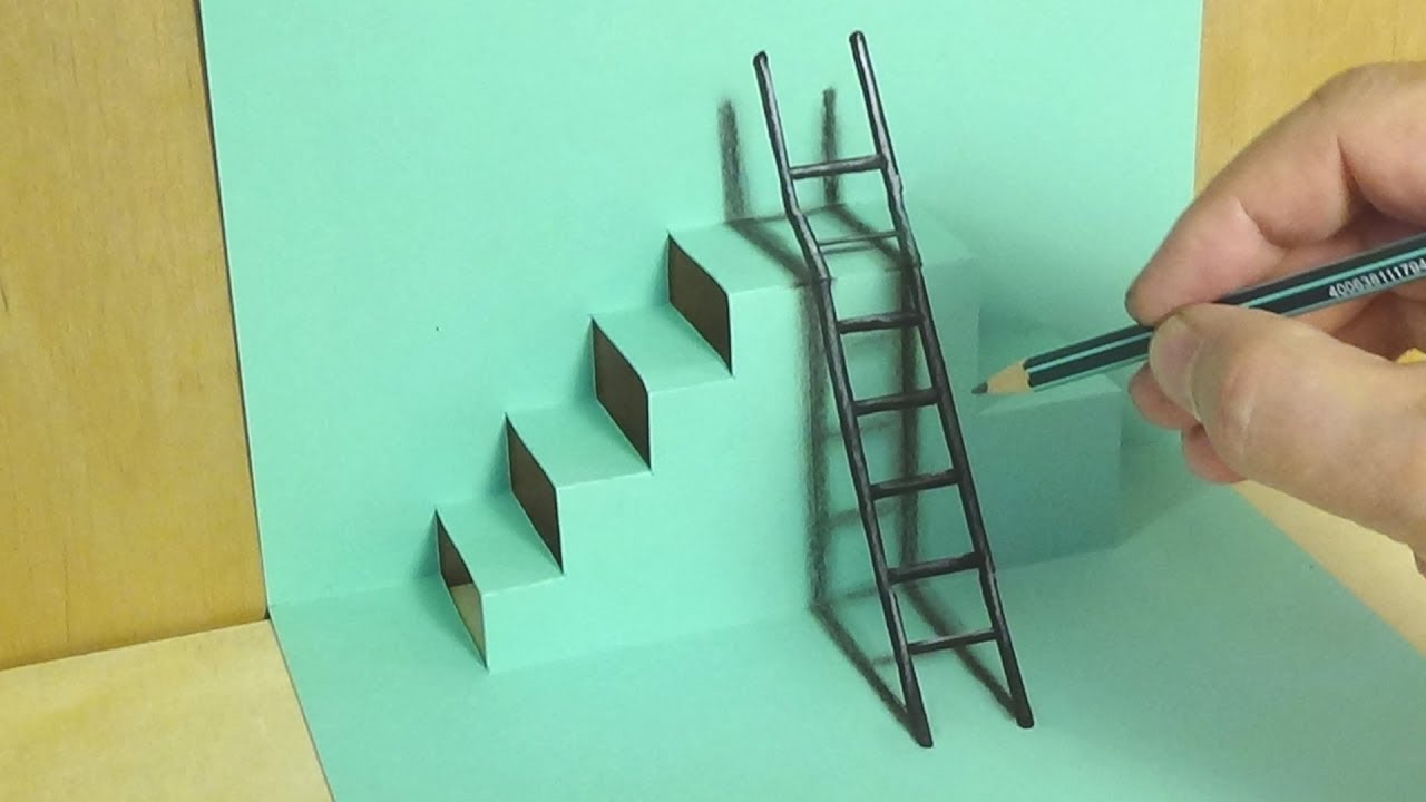 Drawing Mixed Reality Illusion The Ladder Staircase Trick - Reality with pencil and paper