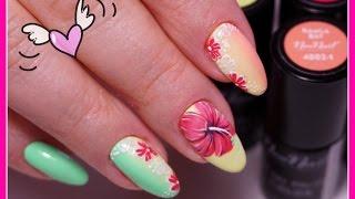 Тропические цветы Гель Лаком/ Яркий Дизайн Ногтей
