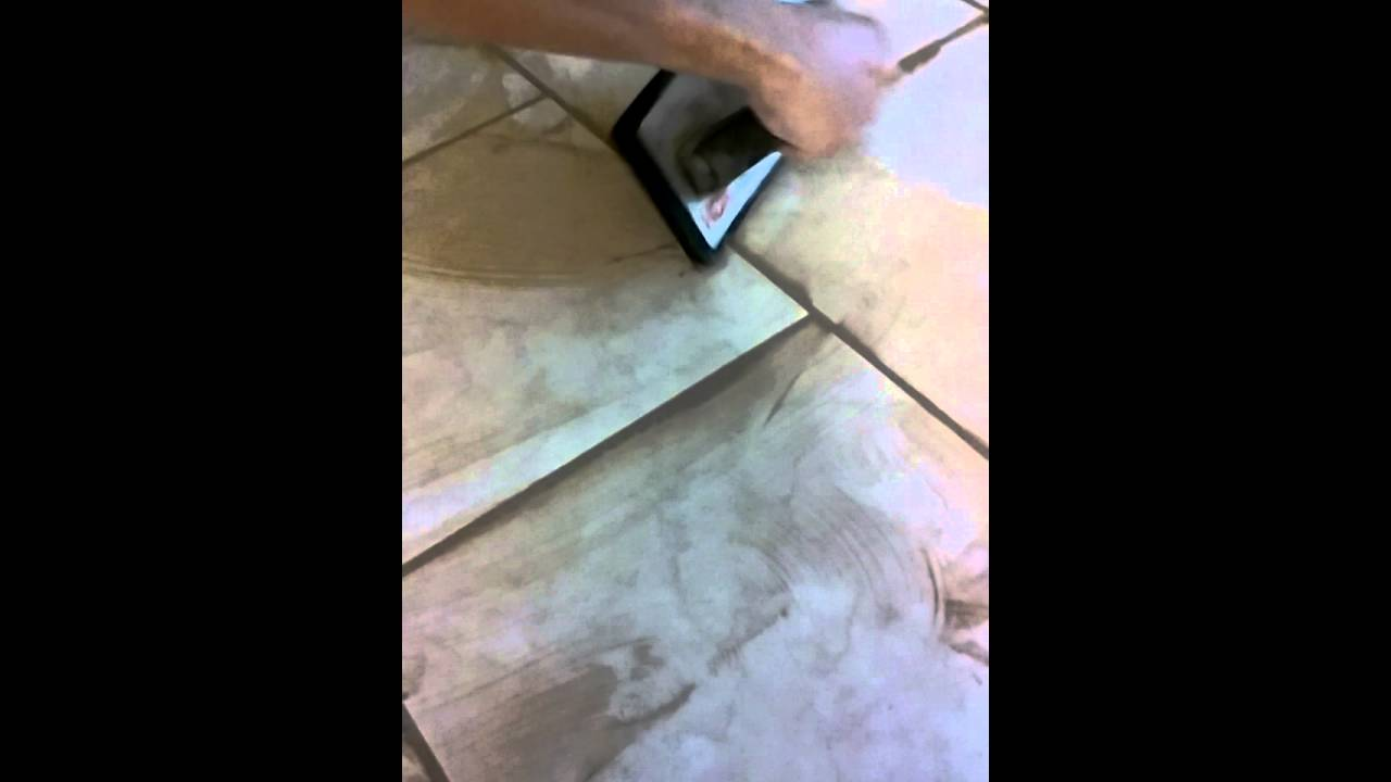 How to grout a ceramic tile floor - YouTube
