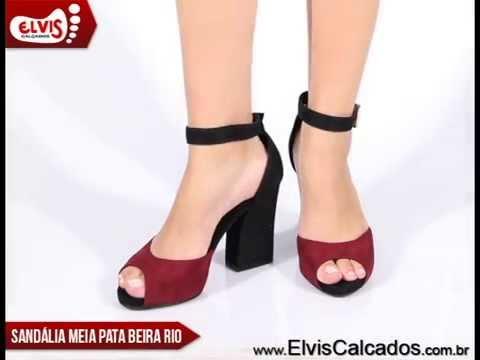 2caf108ab7 Sandália Meia Pata Beira Rio Conforto 8267208 Vinho Preto - YouTube