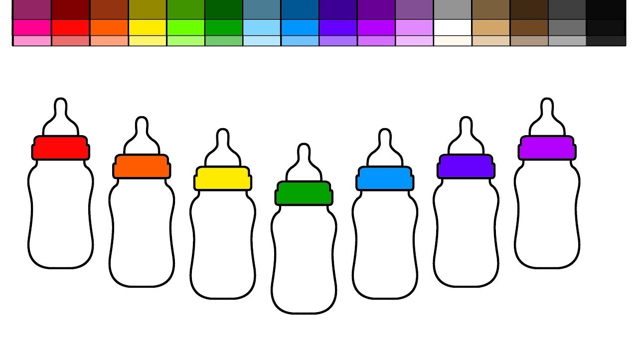 Learn Colors for Kids and Color Rainbow Baby Bottles