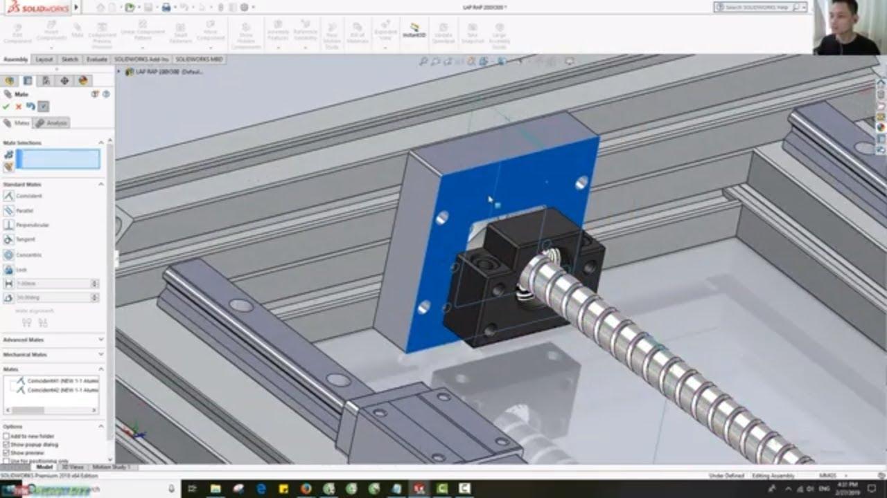 [DIY CNC – SolidWorks 2018] 10. Thiết Kế, Lắp Ráp  Bracket Gối BK, BF Trục Y