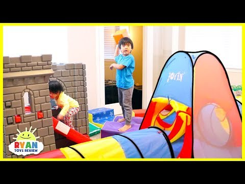 Ryan Pretend Play with Ultimate Kids Indoor Obstacle Course!!!