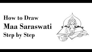 How to Draw Maa Saraswati Drawing Step by Step